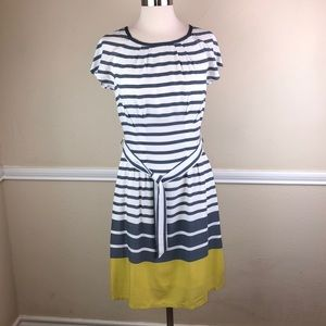 Boden NWOT pencil dress gray and mustard yellow